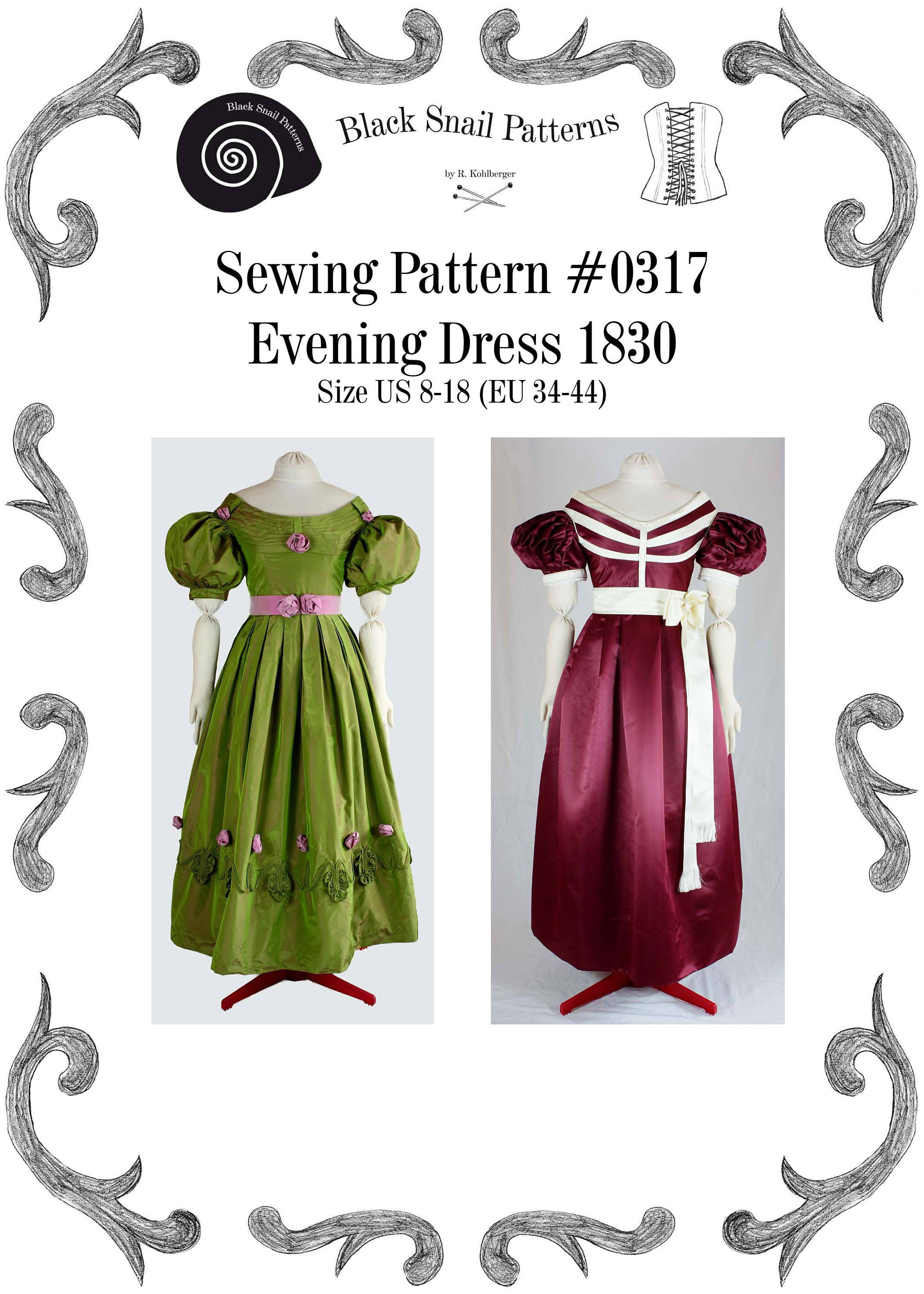 Biedermeier Evening Dress about 1830 Sewing Pattern 0317 Size