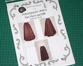 Edwardian Skirt (Fan-Skirt) worn about 1890 Sewing Pattern #0414 Size US 8-30 (EU 34-56) Printed pattern