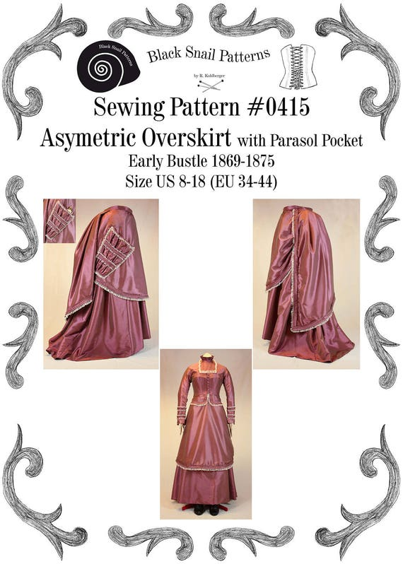 Victorian Sewing Patterns- Dress, Blouse, Hat, Coat, Mens 1869-1875 Victorian Asymmetric Overskirt (apron) Early Bustle with Parasol Pocket Sewing Pattern #0415 Size US 8-30 / EU 34-56 $4.82 AT vintagedancer.com