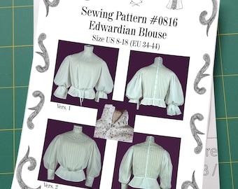 Edwardian Blouse Sewing Pattern #0816 Size US 8-30 (EU 34-56) Printed Pattern