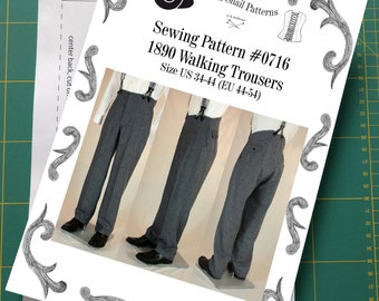Victorian / Edwardian Mens Walking Trousers from 1870 to 1910 Sewing Pattern #0716 Size US 34-56 (EU 44-66) Printed Pattern