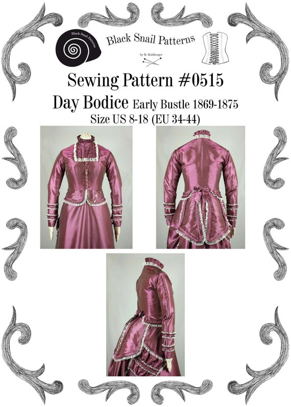 Victorian Sewing Patterns- Dress, Blouse, Hat, Coat, Mens Victorian Bodice Early Bustle PDF Sewing Pattern #0515 Size US 8-30 (EU 34-56) $7.23 AT vintagedancer.com
