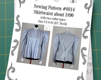 Edwardian Shirtwaist about 1890 with two collar types Sewing Pattern #0314 Size US 8-30 (EU 8-56) Printed Pattern
