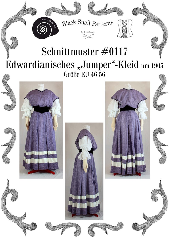 1890s-1900s Fashion, Clothing, Costumes Edwardian Jumper Dress about 1905 Sewing Pattern #0117 Size US 8-30 (EU 34-56) PDF Download $8.55 AT vintagedancer.com