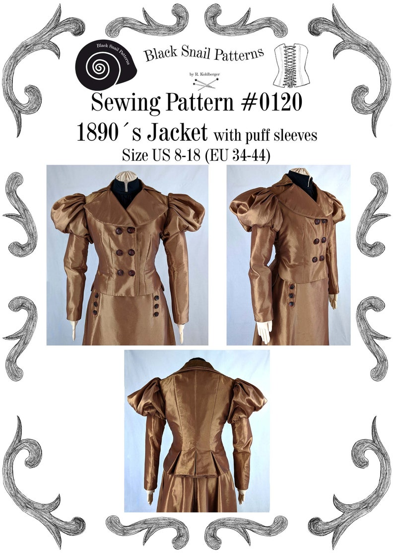 Titanic Fashion – 1st Class Women's Clothing Edwardian Jacket with puff sleeves 1890 Sewing Pattern #0120 Size US 8-30 (EU 34-56) PDF Download $8.87 AT vintagedancer.com