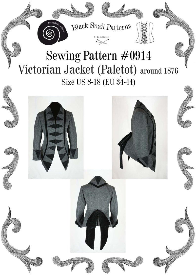 Steampunk Sewing Patterns- Dresses, Coats, Plus Sizes, Men's Patterns Victorian Jacket (Paletot) circa 1876 with stand-up collar Sewing Pattern #0914 Size US 8-30 (EU 34-56) PDF Download $7.44 AT vintagedancer.com