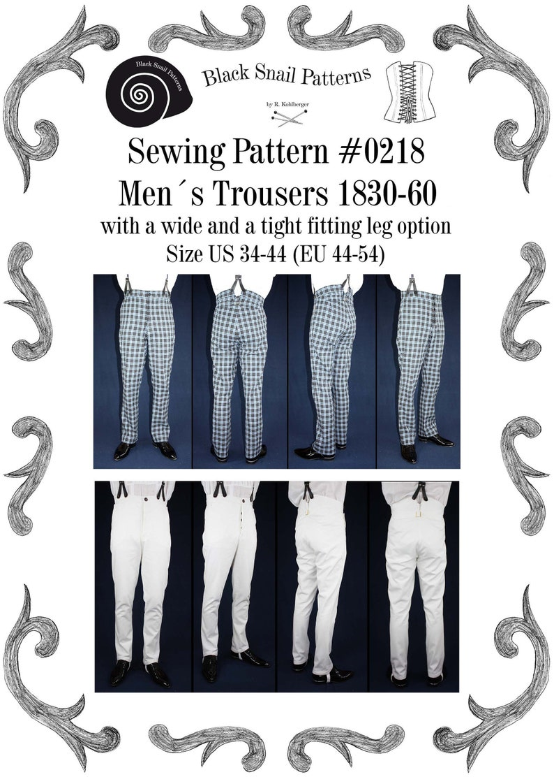 Men's Steampunk Clothing, Costumes, Fashion Mens Trousers 1830 to 1860 with a wide and a tight fitting leg Sewing Pattern #0218 Size US 34-56 (EU 44-66) PDF Download $7.33 AT vintagedancer.com