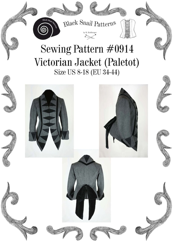 Victorian Sewing Patterns- Dress, Blouse, Hat, Coat, Mens 1876 Victorian Jacket (Paletot) with stand-up collar Sewing Pattern #0914 Size US 8-30 (EU 34-56) $8.44 AT vintagedancer.com