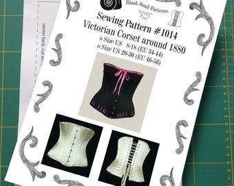 Late Victorian Corset about 1880 (half bust) Sewing Pattern #1014 Size US 8-30 (EU 34-56) Printed Pattern