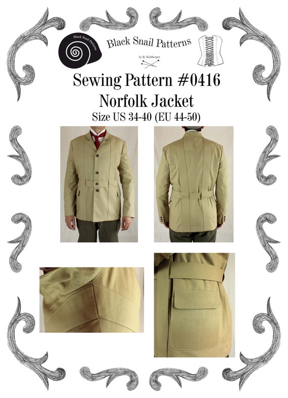 Men's Vintage Reproduction Sewing Patterns Mens Norfolk Jacket Sewing Pattern #0416 Size US 34-48 (EU 44-58) Pdf Download $9.65 AT vintagedancer.com