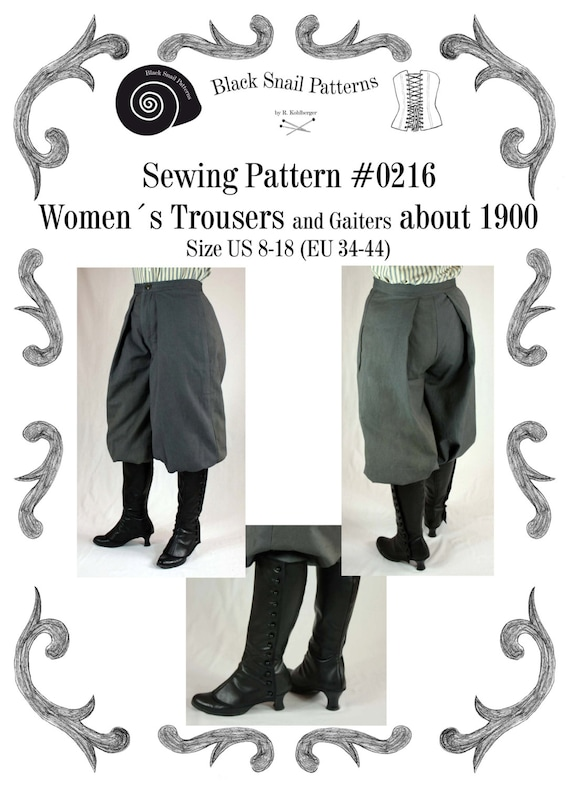 Guide to Victorian Civil War Costumes on a Budget 1890 Edwardian Womens Trousers and Gaiters about 1900 #0216 Size US 8-30 (EU 34-56) Pdf Download $6.03 AT vintagedancer.com