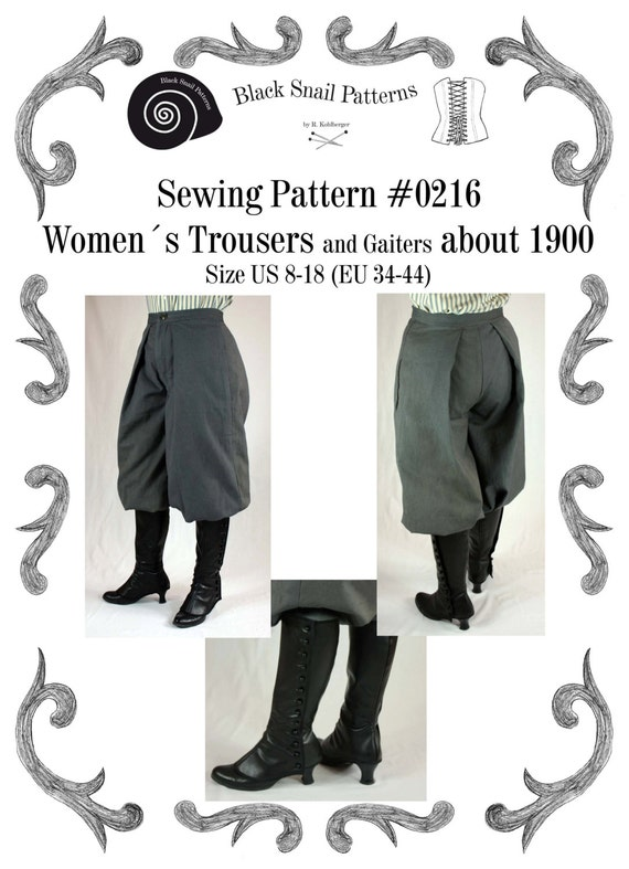 Steampunk Sewing Patterns- Dresses, Coats, Plus Sizes, Men's Patterns 1890 Edwardian Womens Trousers and Gaiters about 1900 #0216 Size US 8-30 (EU 34-56) Pdf Download $6.03 AT vintagedancer.com