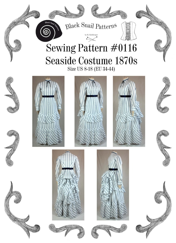 Steampunk Sewing Patterns- Dresses, Coats, Plus Sizes, Men's Patterns 1870 Victorian Dress Seaside Costume Sewing Pattern #0116 Size US 8-30 (EU 34-56) PDF Download $10.85 AT vintagedancer.com