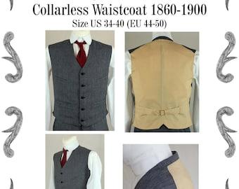 Victorian Edwardian Mens Waistcoat Sewing Pattern #0516 Size US 34-56 (EU 44-66) PDF Download