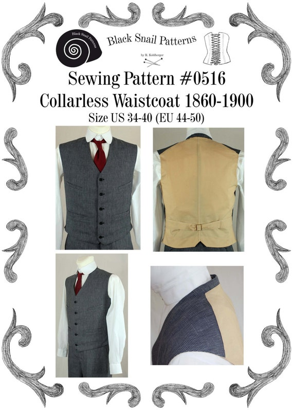 Steampunk Sewing Patterns- Dresses, Coats, Plus Sizes, Men's Patterns 1860-1900 Waistcoat Sewing Pattern #0516 Size US 34-48 (EU 44-58) PDF Download $6.03 AT vintagedancer.com
