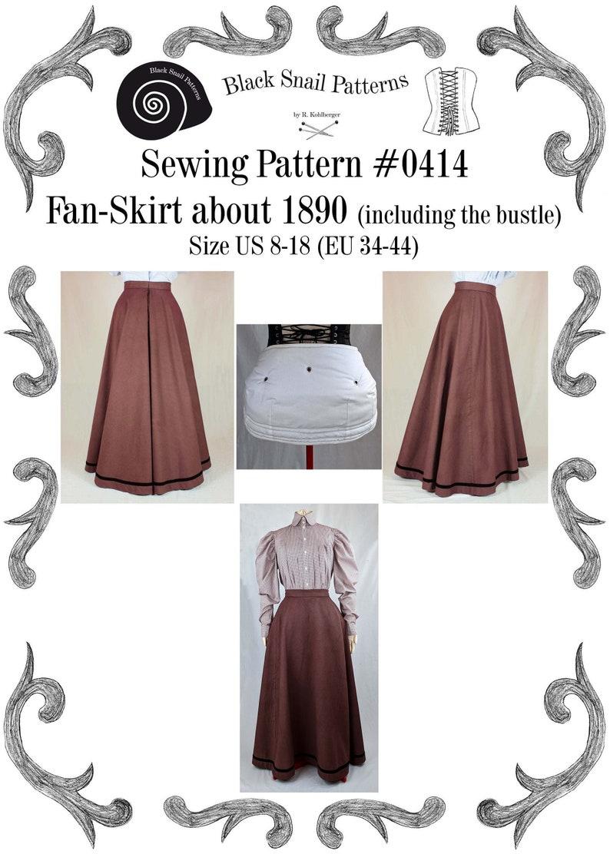 Edwardian Skirt Fan-Skirt worn about 1890 Sewing Pattern image 0