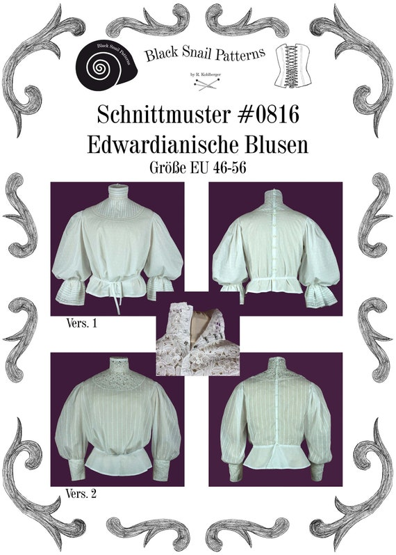 Steampunk Sewing Patterns- Dresses, Coats, Plus Sizes, Men's Patterns Edwardian Blouse Sewing Pattern #0816 Size US 8-30 (EU 34-56) PFD Download $6.03 AT vintagedancer.com