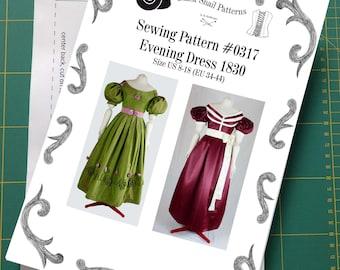 Biedermeier Evening Dress about 1830 Sewing Pattern #0317 Size US 8-30 (EU 34-56) paper pattern