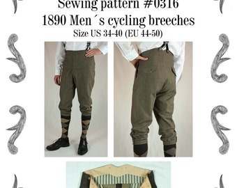 Edwardian Mens Cycling Breeches about 1890 Sewing Pattern #0316 Size US 34-48 (EU 44-58) PDF Download