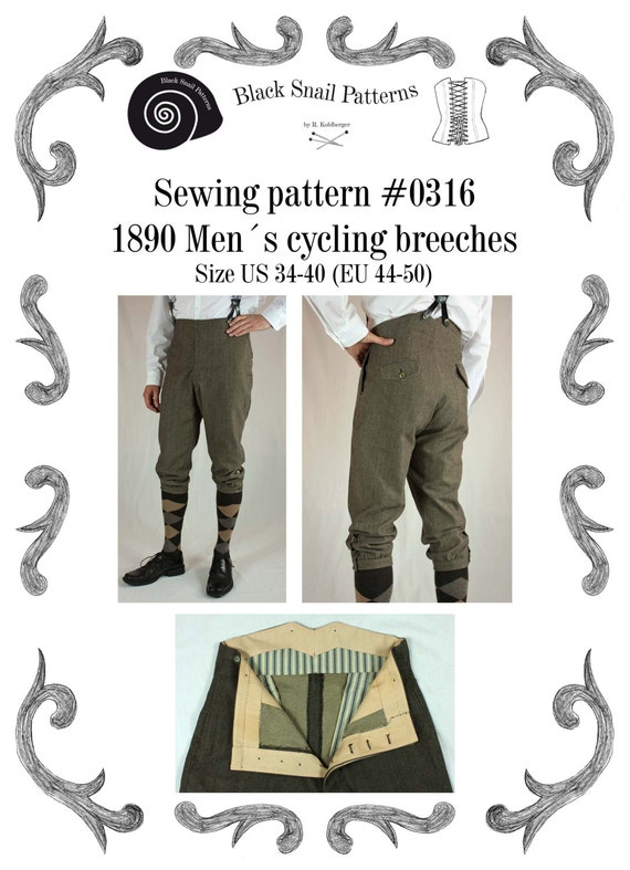 Edwardian Men's Pants, Trousers, Overalls 1890 Edwardian Breeches Mens Cycling Breeches about 1890 Sewing Pattern #0316 Size US 34-48 (EU 44-58) PDF Download $7.23 AT vintagedancer.com