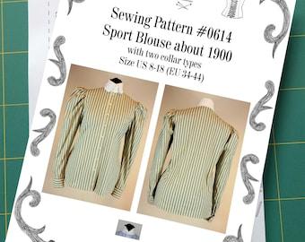 Edwardian Blouse worn about 1900 to do sports Sewing Pattern #0614 Size US 8-30 (Eu 34-56) Printed Pattern