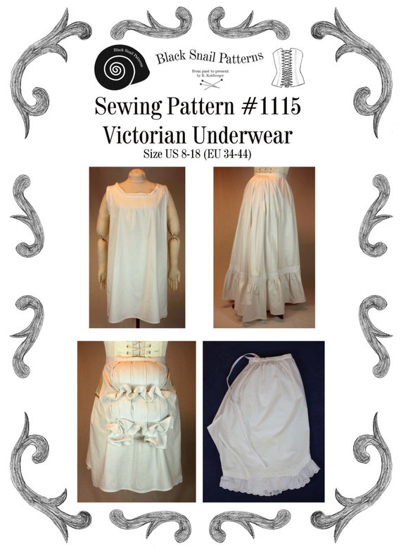 Victorian Lingerie – Underwear, Petticoat, Bloomers, Chemise Victorian Underwear Sewing Pattern #1115 Size US 8-30 (EU 34-56) Pdf Download  $6.63 AT vintagedancer.com
