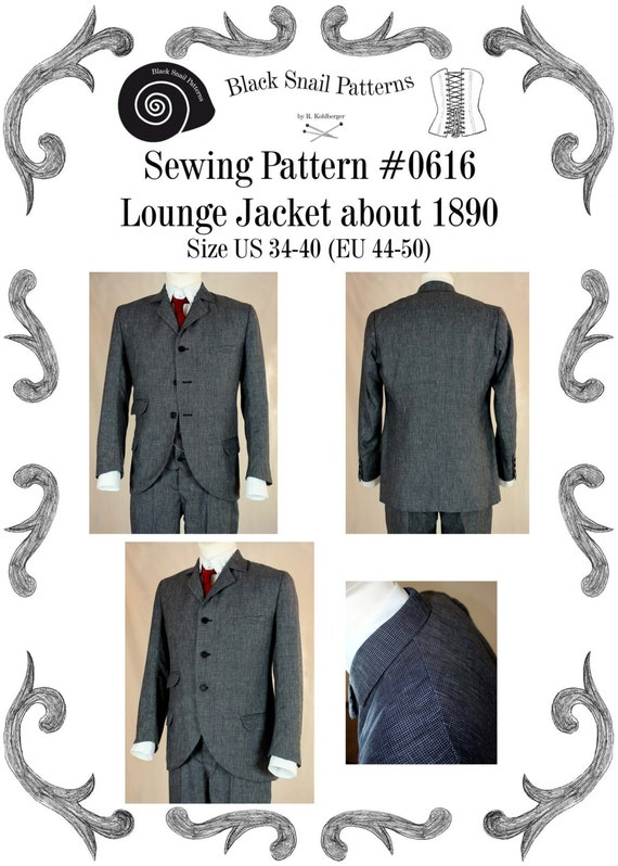 Men's Vintage Style Suits, Classic Suits 1890 Lounge Jacket about 1890 Sewing Pattern #0616 Size US 34-48 (EU 44-58) Pdf Download $9.65 AT vintagedancer.com