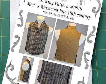 Georgian Mens Waistcoat, late 18th century Sewing Pattern #0819 Size US 34-56 (EU 44-66) Printed Pattern
