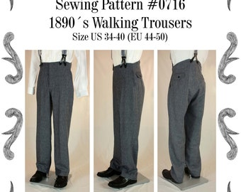 Victorian / Edwardian Mens Walking Trousers from 1870 to 1910 Sewing Pattern #0716 Size US 34-56 (EU 44-66) PDF Download