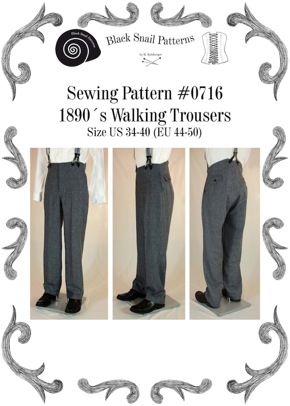 Men's Vintage Reproduction Sewing Patterns Victorian / Edwardian Mens Walking Trousers from 1870 to 1910 Sewing Pattern #0716 Size US 34-48 (EU 44-58) PDF Download $7.23 AT vintagedancer.com