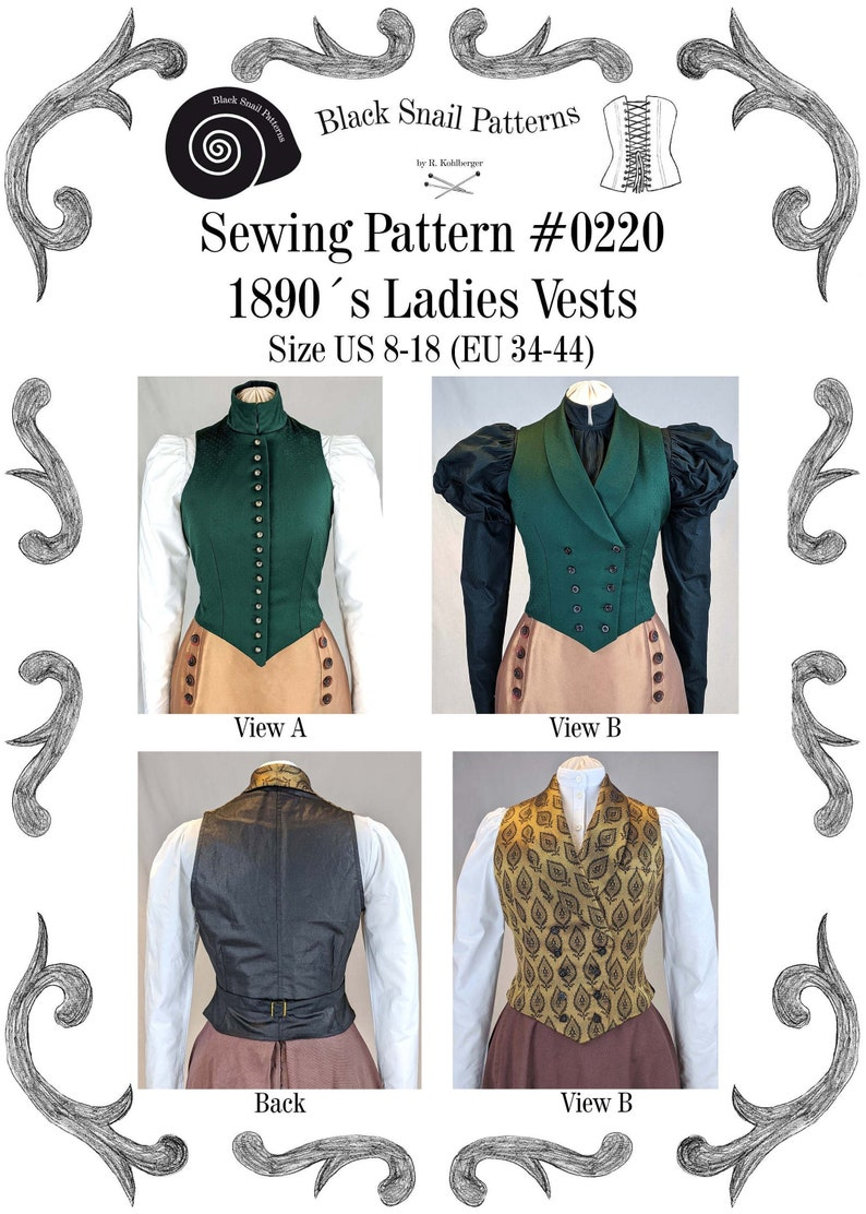 Titanic Clothing, Fashion, Outfit Ideas Edwardian Ladies Vests 1890 Sewing Pattern #0220 Size US 8-30 (EU 34-56) PDF Download $7.33 AT vintagedancer.com