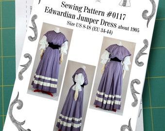 Edwardian Jumper Dress about 1905 Sewing Pattern #0117 Size US 8-30 (EU 34-56) Paper Pattern