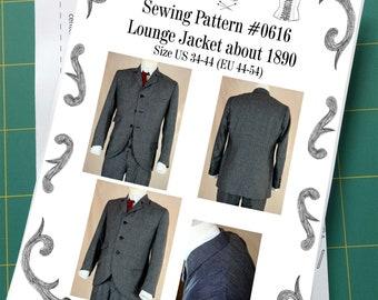 Edwardian Lounge Jacket about 1890 Sewing Pattern #0616 Size US 34-56 (EU 44-66) Printed Pattern
