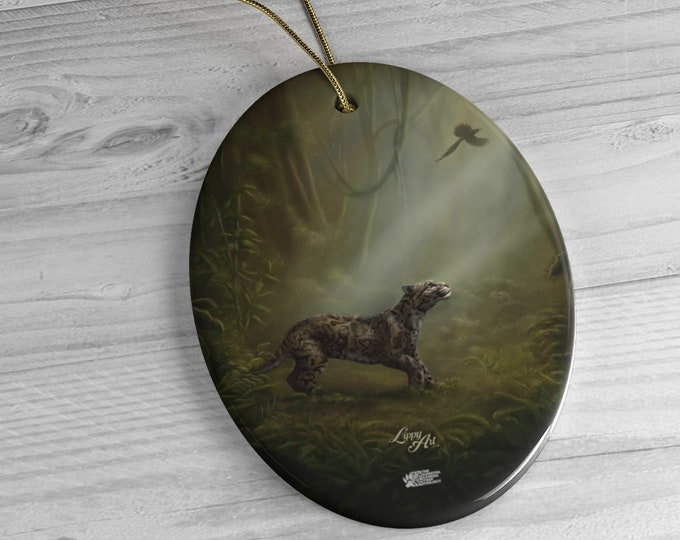 SumatraCTP: Ceramic Ornament - Clouded Mystery (Clouded Leopard) ***FREE SHIPPING***