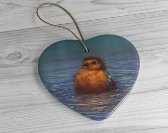 British Winter - Ceramic Ornament, Heart