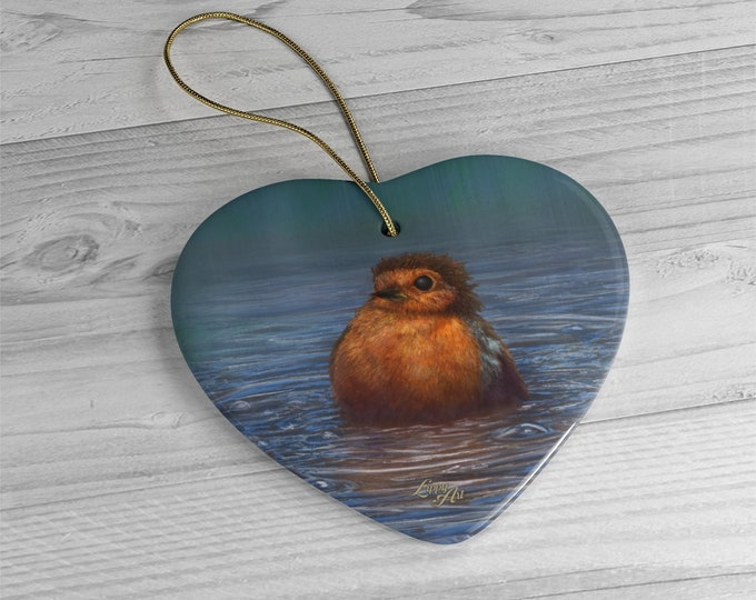 British Winter - Ceramic Ornament, Heart
