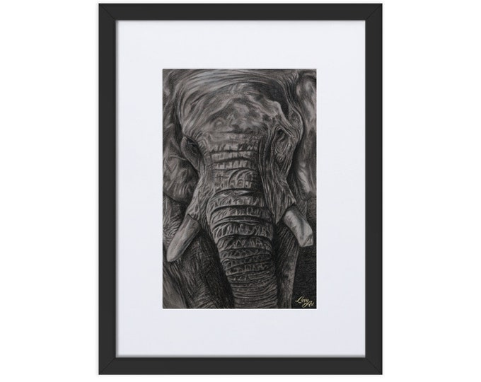 Charley - Charcoal By Mouth - Print, Matte, Framed & Mounted (30x40cm)