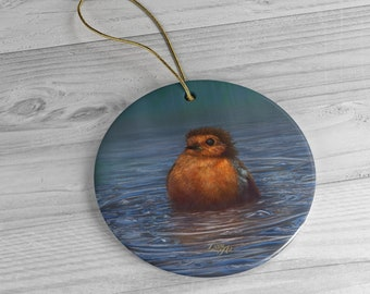British Winter - Ceramic Ornament, Circle ***FREE SHIPPING***