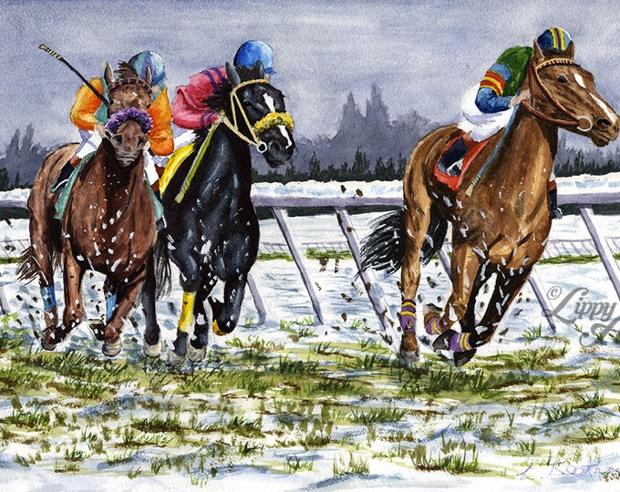 The Last Furlong (Watercolour by Mouth) - Original, Framed & Mounted