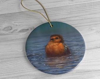 British Winter - Ceramic Ornament, Circle