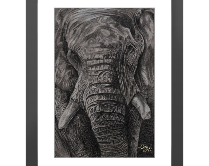 Charley - Charcoal By Mouth - Print, Lustre, Framed & Mounted (18 X 12 Inch)