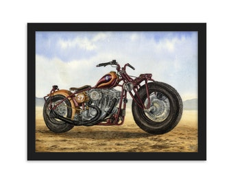 Custom Harley Davidson Sportster (Watercolour By Mouth) - Print, Matte, Framed (30x40cm)