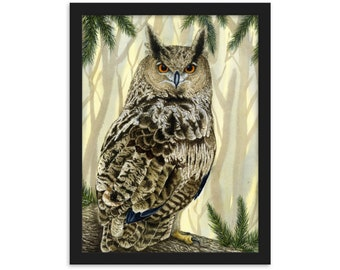 Eagle Owl (Watercolour By Mouth) - Print, Matte, Framed (30x40cm)