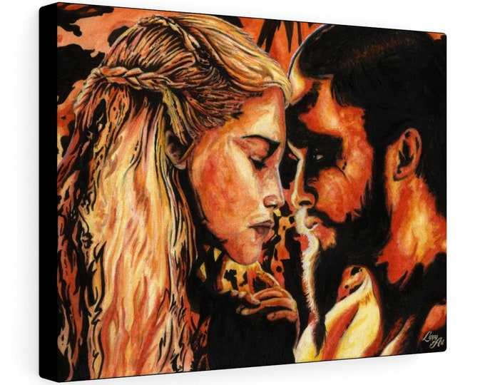Fire & Blood (Watercolour By Mouth) - Print On Stretched Canvas, 16x12 inches