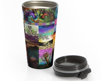 LippyArt Collage, Digital Mix #1 - Travel Mug (15oz, Stainless Steel)