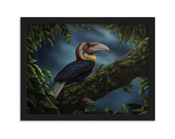 Wreathed Hornbill - Digital Painting By Mouth - Print, Matte, Framed (30x40cm)