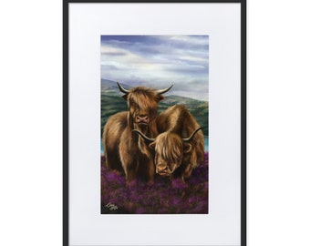 Bò Ghàidhealach - Digital Painting By Mouth - Print, Matte, Framed & Mounted (50x70cm)