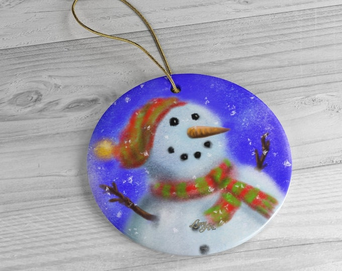 The Snowman - Ceramic Ornament, Circle