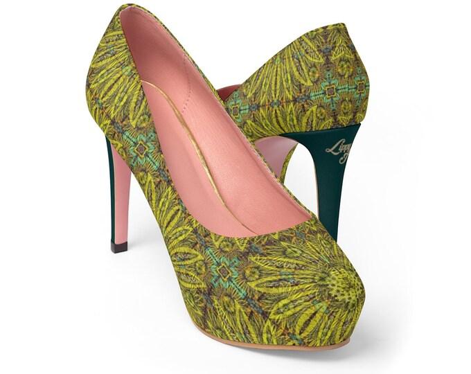 Women's Platform Heels - Floral Abstract