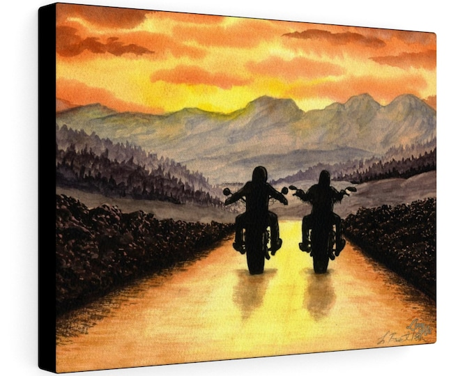 Live To Ride (Watercolour By Mouth) - Print On Stretched Canvas, 16x12 inches